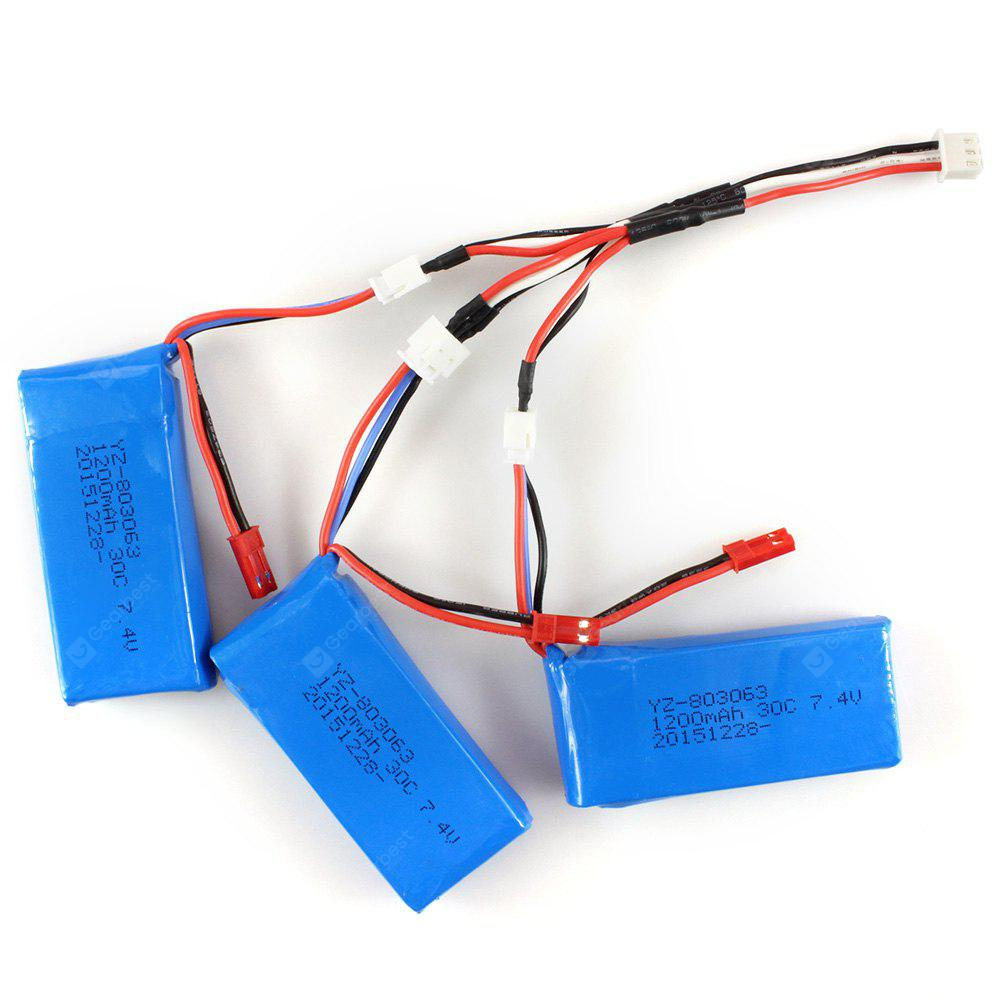 3 x 7.4V 1200mAh Battery + USB Cable Set for RC Model