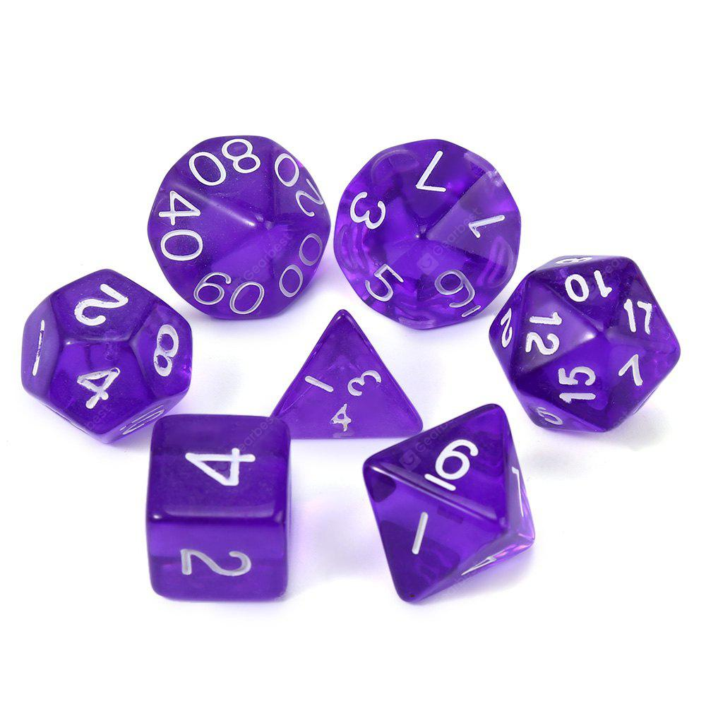 Transparent Polyhedral Dice for Dungeons and Dragons Classic Toy 7Pcs / Set