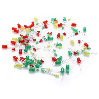 Practical 3mm + 5mm Red Yellow Green LED Light - emitting Set  -  100 PCS