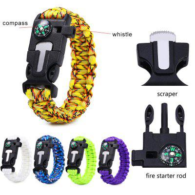 5PCS 5 Functions in 1 Outdoor Survival Paracord Bracelet