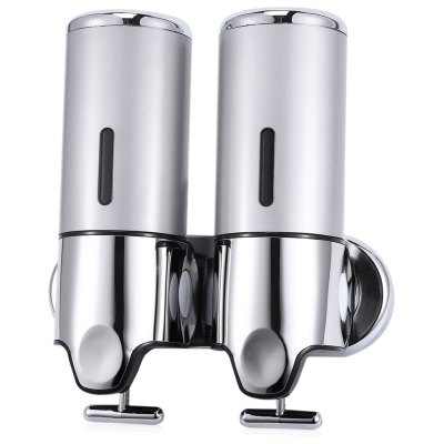 Buy SILVER 1000ml Stainless Steel Wall Mounted Dual Soap Dispenser for $22.60 in GearBest store