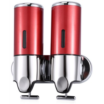 Buy RED 1000ml Stainless Steel Wall Mounted Dual Soap Dispenser for $17.52 in GearBest store