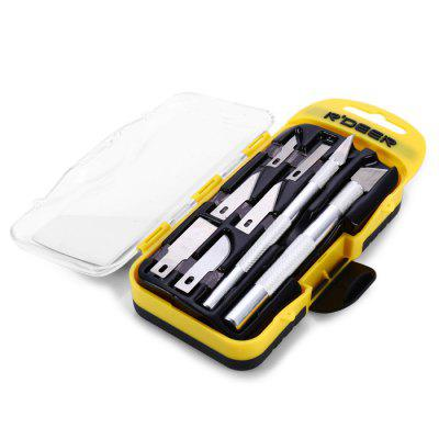 RT-M108 8 in 1 Hobby Knife SetChisel<br>RT-M108 8 in 1 Hobby Knife Set<br><br>Color: Silver<br>Material: Aluminum<br>Model: RT-M108<br>Package Contents: 2 x Handle with Blade, 6 x Blade<br>Package size (L x W x H): 19.00 x 8.00 x 3.50 cm / 7.48 x 3.15 x 1.38 inches<br>Package weight: 0.197 kg<br>Product weight: 0.040 kg<br>Special function: Carve<br>Type: Blade
