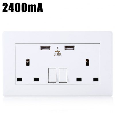 2400mA 2 Port USB UK Mains Double Power Wall Socket