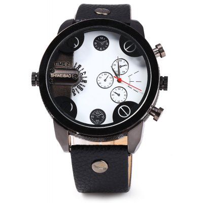 Shiweibao J3132 Dual-movtz Leather Band Male Quartz Watch