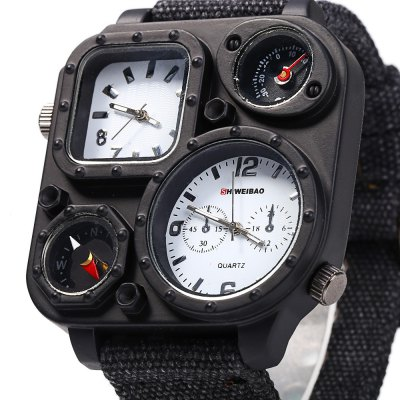 Shiweibao J1169 Compass Dual Movt Male Quartz WatchMens Watches<br>Shiweibao J1169 Compass Dual Movt Male Quartz Watch<br><br>Available Color: Black,White<br>Band material: Canvas<br>Brand: Shiweibao<br>Case material: Stainless Steel<br>Clasp type: Pin buckle<br>Display type: Analog<br>Movement type: Double-movtz<br>Package Contents: 1 x Shiweibao J1169 Watch<br>Package size (L x W x H): 27.000 x 6.000 x 2.000 cm / 10.630 x 2.362 x 0.787 inches<br>Package weight: 0.123 kg<br>Product size (L x W x H): 26.000 x 5.000 x 1.000 cm / 10.236 x 1.969 x 0.394 inches<br>Product weight: 0.093 kg<br>Shape of the dial: Square<br>Special features: Compass, Decorating small sub-dials, Decorating thermometer<br>Style elements: Big dial<br>The band width: 2.5 cm / 0.98 inches<br>The dial diameter: 5.0 cm / 1.97 inches<br>The dial thickness: 1.0 cm / 0.39 inches<br>Watch style: Casual, Trends in outdoor sports<br>Watches categories: Male table<br>Wearable length: 19.0 - 24.0 cm / 7.48 - 9.45 inches