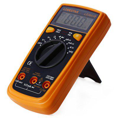 LODESTAR LD3803B LCD MultimeterMultimeters &amp; Fitting<br>LODESTAR LD3803B LCD Multimeter<br><br>Brand: LODESTAR<br>Max. Display: 1999<br>Model: LD3803B<br>Package Contents: 1 x LODESTAR LD3803B LCD Multimeter, 2 x 1.5V AAA Battery, 2 x Test Probe<br>Package size (L x W x H): 15.800 x 11.200 x 4.700 cm / 6.220 x 4.409 x 1.850 inches<br>Package weight: 0.314 kg<br>Powered by: 2 x AAA Battery<br>Product size (L x W x H): 14.500 x 7.000 x 3.700 cm / 5.709 x 2.756 x 1.457 inches<br>Product weight: 0.244 kg<br>Resistance : 200-20M±(1%+2) ohm<br>Type: Handheld LCD Digital Multimeter