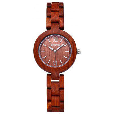 SKONE 7400 Wooden Body Imported Quartz Movement Ladies Watch