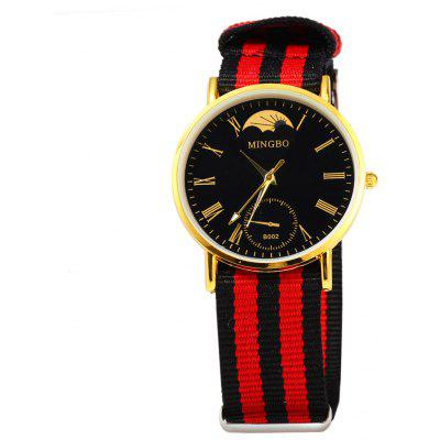 MINGBO B002 Roman Numbers Colorful Canvas Band Male Quartz Watch