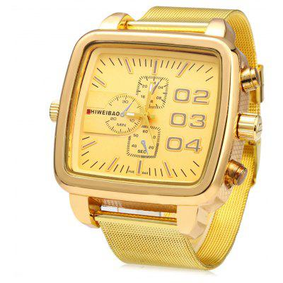 Shiweibao 4304 Waterproof Male Quartz Watch with Golden Steel Net Band