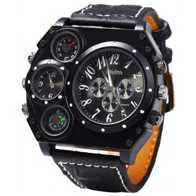 Buy BLACK Oulm Dual Quartz Movt Male Watch with Compass Function for $16.24 in GearBest store