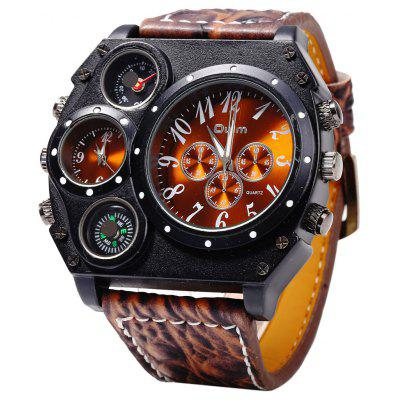 Buy GOLD BROWN Oulm Dual Quartz Movt Male Watch with Compass Function for $16.24 in GearBest store