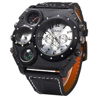 Buy WHITE Oulm Dual Quartz Movt Male Watch with Compass Function for $16.24 in GearBest store