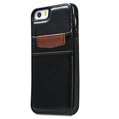 Wallet Card Slot Leather Back Case Skin for iPhone 5 / 5s / SE