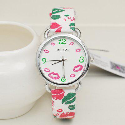 KEZZI Japan Quartz Lip Decoration Female Watch PU Band