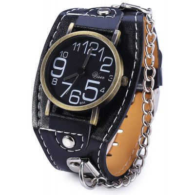 Visec 931 Big Number Quartz Male Watch Wide Leather Band