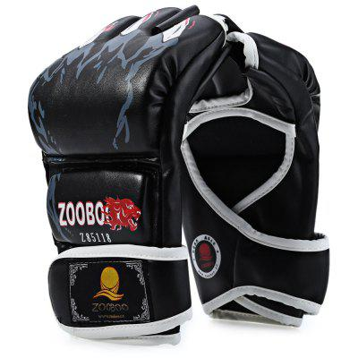 Buy BLACK Zooboo 1 Pair PU Leather Half Finger MMA Fighting Boxing Gloves for Sanda Sandbag with Cartoon Talons Image for $9.29 in GearBest store