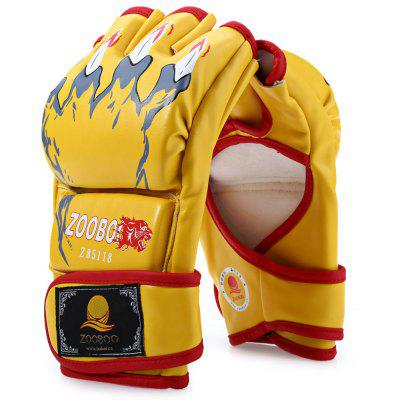 Buy YELLOW Zooboo 1 Pair PU Leather Half Finger MMA Fighting Boxing Gloves for Sanda Sandbag with Cartoon Talons Image for $9.29 in GearBest store