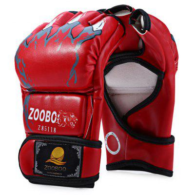 Buy RED Zooboo 1 Pair PU Leather Half Finger MMA Fighting Boxing Gloves for Sanda Sandbag with Cartoon Talons Image for $9.29 in GearBest store