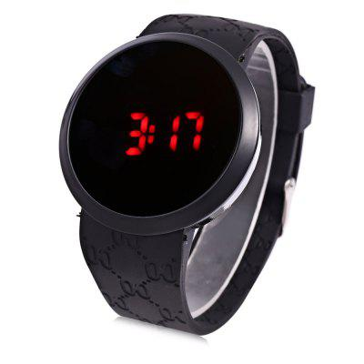 Male Touch Screen LED Watch with Round Dial Rubber Wristband