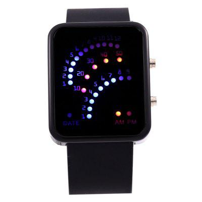 Date Display Fashion LED Sports Watch Rubber StrapLED Watches<br>Date Display Fashion LED Sports Watch Rubber Strap<br><br>Band material: Rubber<br>Case material: Alloy<br>Clasp type: Pin buckle<br>Display type: LED lamp<br>Movement type: Digital watch<br>Package Contents: 1 x LED Female Watch<br>Package size (L x W x H): 24.60 x 4.80 x 2.10 cm / 9.69 x 1.89 x 0.83 inches<br>Package weight: 0.0840 kg<br>People: Unisex table<br>Product size (L x W x H): 23.60 x 3.80 x 1.10 cm / 9.29 x 1.5 x 0.43 inches<br>Product weight: 0.0540 kg<br>Shape of the dial: Rectangle<br>Special features: Date, EL Back-light<br>The band width: 2.3 cm / 0.91 inches<br>The dial diameter: 3.5 cm / 1.38 inches<br>The dial thickness: 1.1 cm / 0.43 inches<br>Watch color: Black, Deep Blue, Green, Lake Blue, Pink, Purple, Red, White, Yellow<br>Watch style: LED<br>Watches categories: Digital watch<br>Wearable length: 16 - 21.5 cm / 6.30 - 8.47 inches