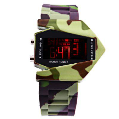 LED Sports Multi-function Airplane Shape Dial WatchLED Watches<br>LED Sports Multi-function Airplane Shape Dial Watch<br><br>Band material: Rubber<br>Case material: Plastic<br>Clasp type: Pin buckle<br>Display type: Digital<br>Movement type: Digital watch<br>Package Contents: 1 x LED Watch<br>Package size (L x W x H): 26.30 x 5.80 x 2.00 cm / 10.35 x 2.28 x 0.79 inches<br>Package weight: 0.1120 kg<br>People: Unisex table<br>Product size (L x W x H): 25.30 x 4.80 x 1.00 cm / 9.96 x 1.89 x 0.39 inches<br>Product weight: 0.0820 kg<br>Special features: Alarm Clock, Day, Stopwatch, EL Back-light, Date<br>The band width: 2.5 cm / 0.98 inches<br>The dial diameter: 4.2 cm / 1.65 inches<br>The dial thickness: 1 cm / 0.39 inches<br>Watch color: Camouflage color<br>Watch style: LED<br>Watches categories: Digital watch<br>Wearable length: 18.3 - 24 cm / 7.20 - 9.45 inches