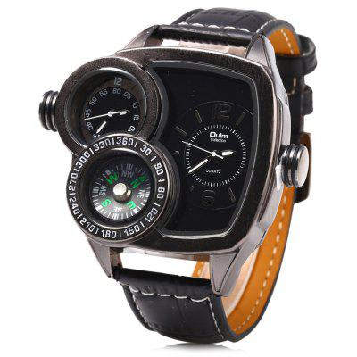 Oulm 3670 Double Quartz Leather Band Compass Male Watch