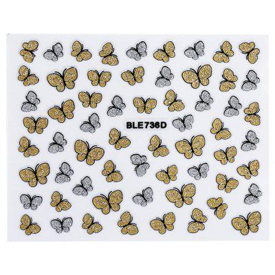 50pcs Fashion 3D DIY Butterfly Nail Art Shinning Stickers