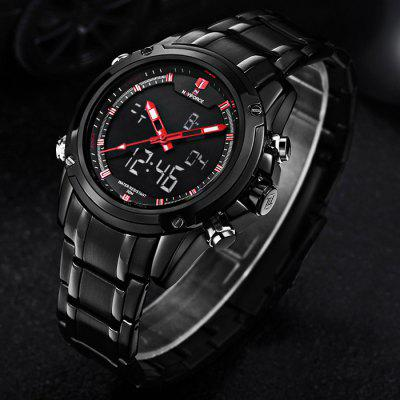 Naviforce 3684 Multifunctional Analog Digital Man WatchMens Watches<br>Naviforce 3684 Multifunctional Analog Digital Man Watch<br><br>Band material: Alloys<br>Brand: Naviforce<br>Case material: Alloy<br>Clasp type: Folding clasp with safety<br>Display type: Analog-Digital<br>Movement type: Double-movtz<br>Package Contents: 1 x Male Watch<br>Package size (L x W x H): 14.00 x 5.20 x 2.50 cm / 5.51 x 2.05 x 0.98 inches<br>Package weight: 0.200 kg<br>Product size (L x W x H): 25.50 x 4.19 x 1.52 cm / 10.04 x 1.65 x 0.60 inches<br>Product weight: 0.170 kg<br>Shape of the dial: Round<br>Special features: Stopwatch, Alarm Clock<br>The band width: 2.02 cm / 0.80 inches<br>The dial diameter: 4.19 cm / 1.65 inches<br>The dial thickness: 1.52 cm / 0.60 inches<br>Watch color: Black and White, Black and Red, Black and Yellow, Black and Blue, Silver and White, Silver and Red, Silver and Yellow, Silver and Blue<br>Watch style: Fashion, Business, LED<br>Watches categories: Male table<br>Water resistance: 30 meters