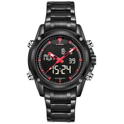 Naviforce Multifunctional Analog Digital Man Watch RED WITH BLACK