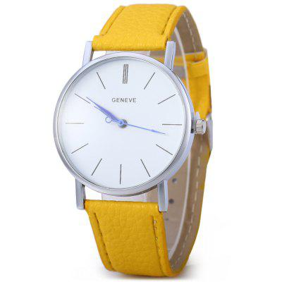 Geneva Blue Pin Leather Belt Quartz Watch with Contrast Color Decorative Sub-dial