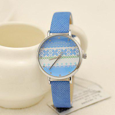 KEZZI Colorized Stripes Dial PU Band Quartz Female Watch