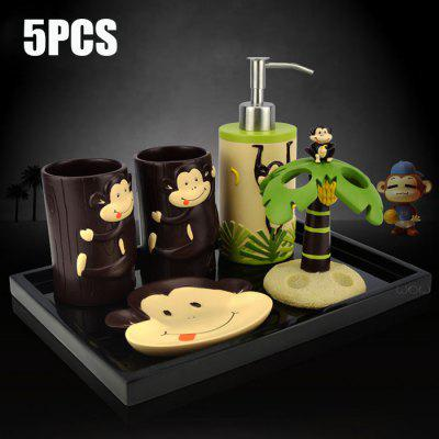 5PCS Cartoon Monkey Shaped Bathroom Set