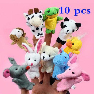 Animal Design Finger Puppet Plush Toy 10Pcs / Set