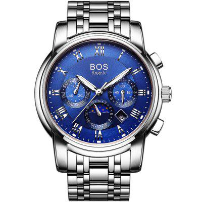 BOS 9011 Multi-function Male Automatic Mechanical WatchMechanical Watches<br>BOS 9011 Multi-function Male Automatic Mechanical Watch<br><br>Available Color: Black,Blue,White<br>Band material: Stainless Steel<br>Brand: BOS<br>Case material: Stainless Steel<br>Clasp type: Butterfly clasp<br>Display type: Analog<br>Movement type: Automatic mechanical watch<br>Package Contents: 1 x BOS Watch<br>Package size (L x W x H): 23.00 x 5.30 x 2.10 cm / 9.06 x 2.09 x 0.83 inches<br>Package weight: 0.1690 kg<br>Product size (L x W x H): 22.00 x 4.30 x 1.10 cm / 8.66 x 1.69 x 0.43 inches<br>Product weight: 0.1390 kg<br>Shape of the dial: Round<br>Special features: Working sub-dial, Phases of the moon, Month, Date, Day<br>Style elements: Big dial, Stainless Steel<br>The band width: 2.0 cm  / 0.79 inches<br>The dial diameter: 4.1 cm / 1.61 inches<br>The dial thickness: 1.1 cm / 0.43 inches<br>Watch style: Fashion<br>Watches categories: Male table