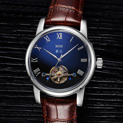 BOS 9005G Date Display Male Automatic Mechanical WatchMechanical Watches<br>BOS 9005G Date Display Male Automatic Mechanical Watch<br><br>Band material: Genuine Leather<br>Brand: BOS<br>Case material: Stainless Steel<br>Clasp type: Butterfly clasp<br>Display type: Analog<br>Movement type: Automatic mechanical watch<br>Package Contents: 1 x BOS Watch<br>Package size (L x W x H): 23.00 x 5.50 x 2.20 cm / 9.06 x 2.17 x 0.87 inches<br>Package weight: 0.130 kg<br>Product size (L x W x H): 22.00 x 4.50 x 1.20 cm / 8.66 x 1.77 x 0.47 inches<br>Product weight: 0.100 kg<br>Shape of the dial: Round<br>Special features: Tourbillon, Date<br>Style elements: Hollow Out, Stainless Steel<br>The band width: 2.0 cm  / 0.79 inches<br>The dial diameter: 4.3 cm / 1.69 inches<br>The dial thickness: 1.2 cm / 0.47 inches<br>Watch color: Black and Rose gold, Silver and Black, Silver and Brown, Rose Gold and Brown, Silver and Brown and Blue, Silver and Black and Blue, Rose Gold and Brown and Blue, Rose Gold and Black and Blue<br>Watch style: Fashion<br>Watches categories: Male table