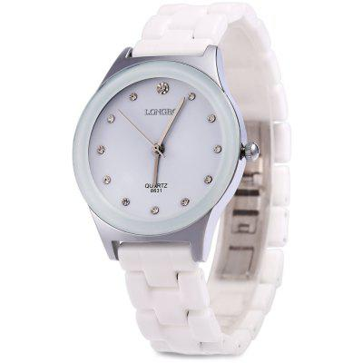 Longbo 8631 Male Rhinestone Quartz Wrist Watch Ceramic Band