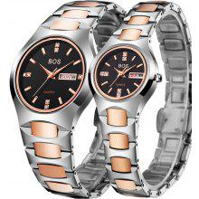 BOS 8006G Day Date Quartz Couple Watch Tungsten Steel Body