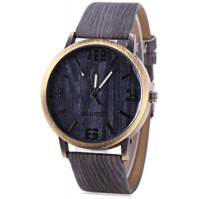 Quartz Unisex Watch Textura de madeira Round Dial Leather Band