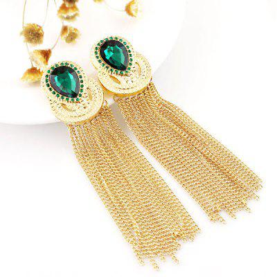 ER-5228 1 Pair Rhinestone Ladies Ear Studs with Tassel Pendant