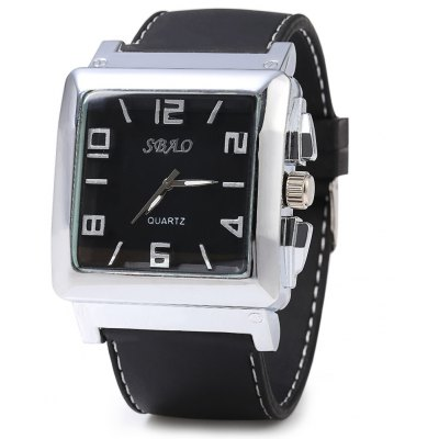 SBAO Rectangle Dial Quartz Male Watch with Rubber Band