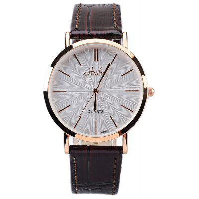 Haibo 6298 Simple Stripes Scale Leather Band Quartz Man Watch
