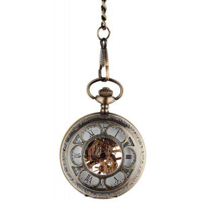 Duas caras oca-out Mecânica Pocket Watch Vintage Pattern