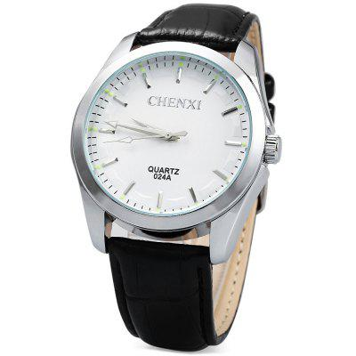 Chenxi 024A Nail Scale Quartz Watch Leather Band for Men