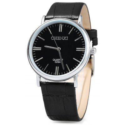 Chenxi 026A Nail Scale Quartz Watch Leather Band for Men