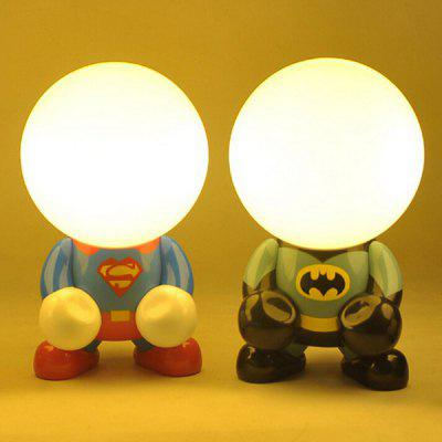 Rechargeable Superhero Cartoon LED Night Light Desk LampTable Lamps<br>Rechargeable Superhero Cartoon LED Night Light Desk Lamp<br><br>Battery: Built-in 400mAh rechargeable battery<br>CCT: 2700-3000K<br>Features: Rechargeable<br>Input Voltage: DC 5V<br>Luminance: 100LM<br>Material: PVC<br>Numbers of LED: 4<br>Optional Light Color: Warm White<br>Package Contents: 1 x LED Night Light, 1 x USB Cable<br>Package size (L x W x H): 17.00 x 27.00 x 17.00 cm / 6.69 x 10.63 x 6.69 inches<br>Package weight: 0.520 KG<br>Power: 0.9W<br>Powered Source: USB<br>Product size (L x W x H): 16.00 x 26.00 x 16.00 cm / 6.3 x 10.24 x 6.3 inches<br>Product weight: 0.470KG<br>Suitable for: Home Decoration, Home use, Office