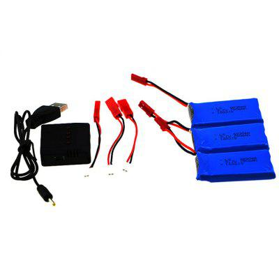 Spare 3Pcs 3.7V 780mAh Battery + Balance Charger / Cable Set