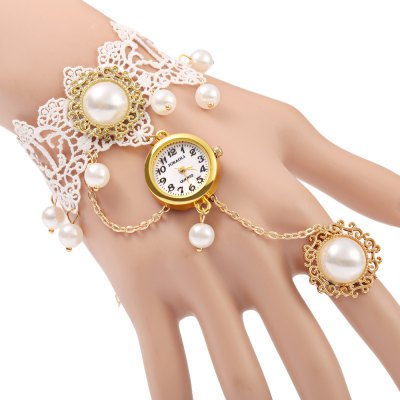 JUBAOLI A1090 Weibliche Ring Armband Hollow-out Spitze Quarzuhr