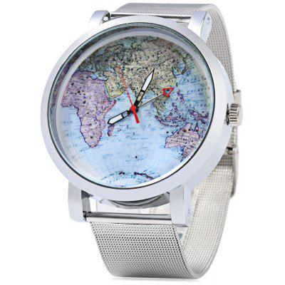 JUBAOLI 1096 Map Pattern Ladies Quart Watch Steel Net Band