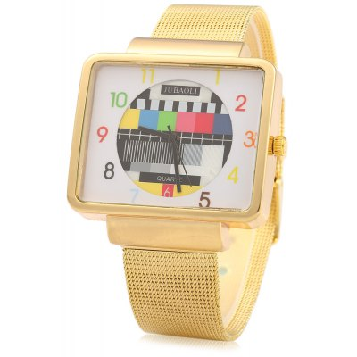 JUBAOLI 1046 Colorful Grid Female Quartz Watch Rectangle Dial